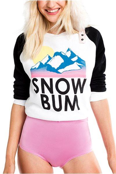 Wildfox Women's Sweater Snow Bum Junior Sweatshirt - Clean White/Black