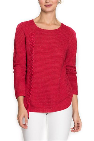Final Sale Nic + Zoe - Women's The Braided Up Knit Top - True Red