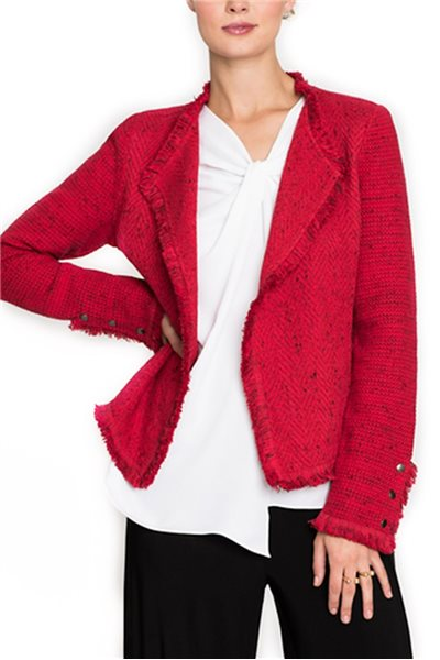 Final Sale Nic + Zoe - Women's Fringe Mix Blazer Jacket - True Red