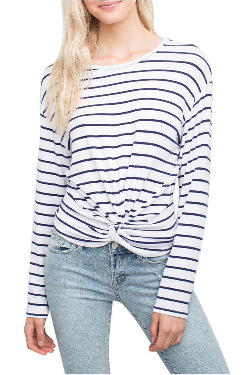 Generation love - Women's Ellery Twisy Long Sleeve Top - Stripe