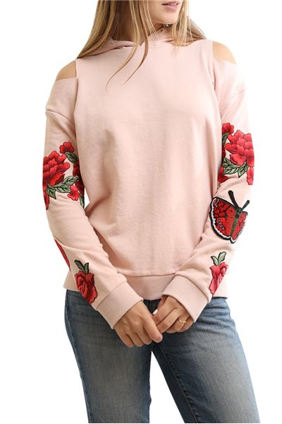 Final Sale Central Park West - Oakland Rose Embroidered Hoodie - Pink