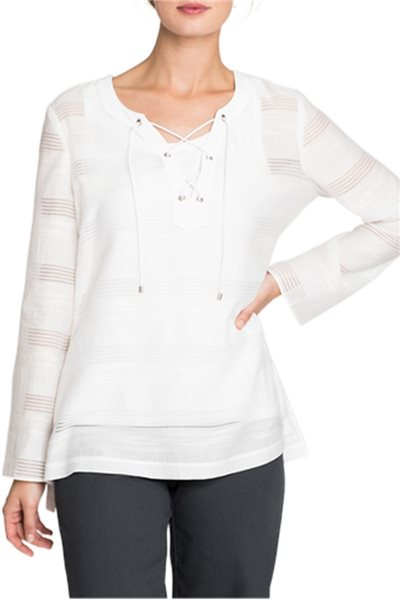 Nic+Zoe - Women's Shadow Stripe Top - Paper White