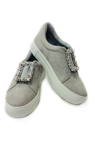 Final Sale JSlides - Abode Embellished Buckle Platform Sneakers - Grey Suede