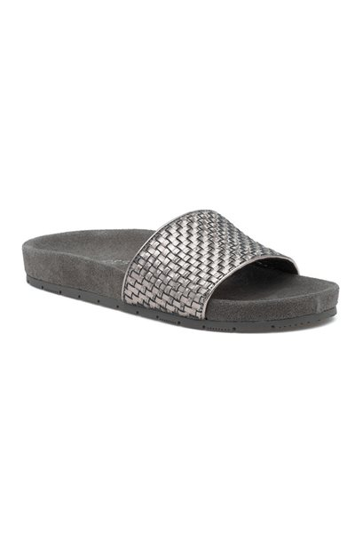 Final Sale Jslides - Women's Naomi Metallic Leather - Pewter