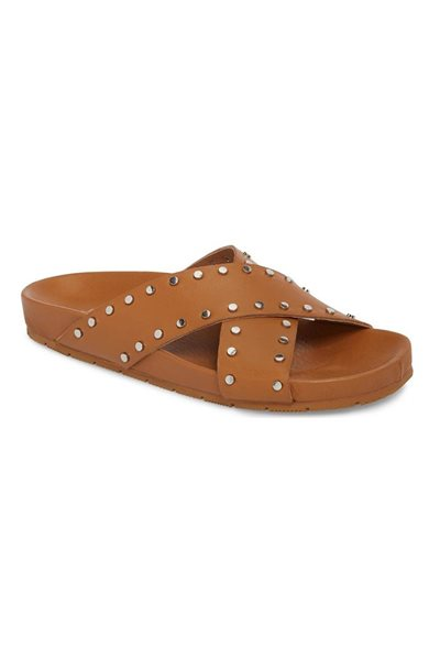 Jslides - Women's Ellie Studded Slide Sandal - Tan