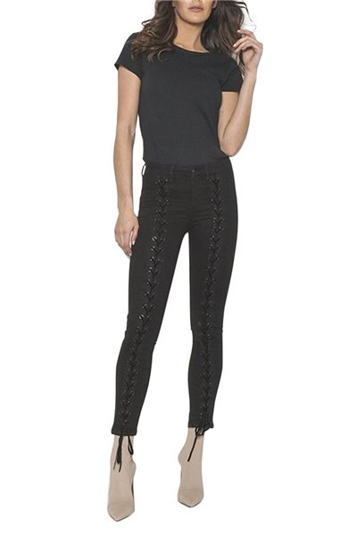 Neon Blonde - Womens's Blondie Tie Up Jean - Black