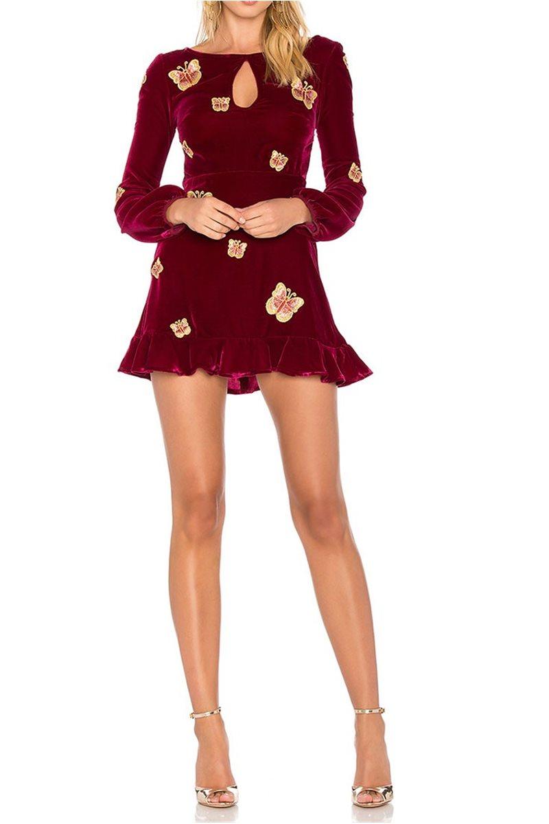 For Love And Lemons - Women's Papillon Mini Dress - Raspberry