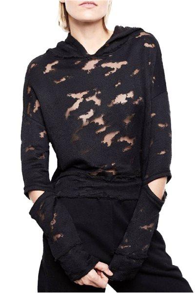 Generation Love - Women's Violet Burnout Hooded Sweatshirt - Black