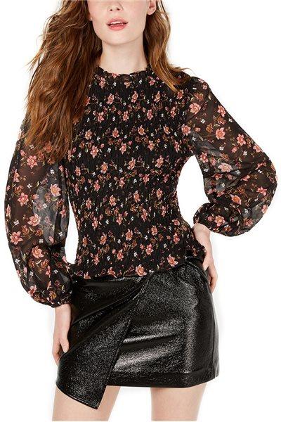 Final Sale J.O.A. - Women's Blouson-Sleeve Top - Black