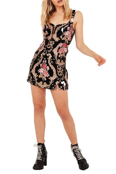 For Love And Lemons - Women's Brocade Tapestry Mini Dress - Black Floral