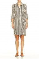 Halston - Long Sleeve Button Down Shirtdress With Smocking - Buff Black Stripe Print