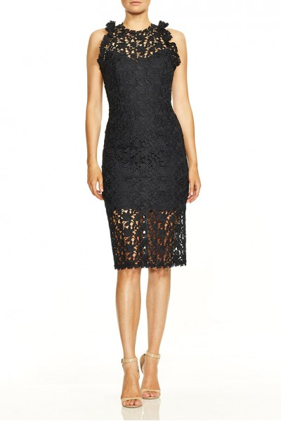 Halston - Sleeveless Mock Neck Fitted Lace Dress - Dark Navy