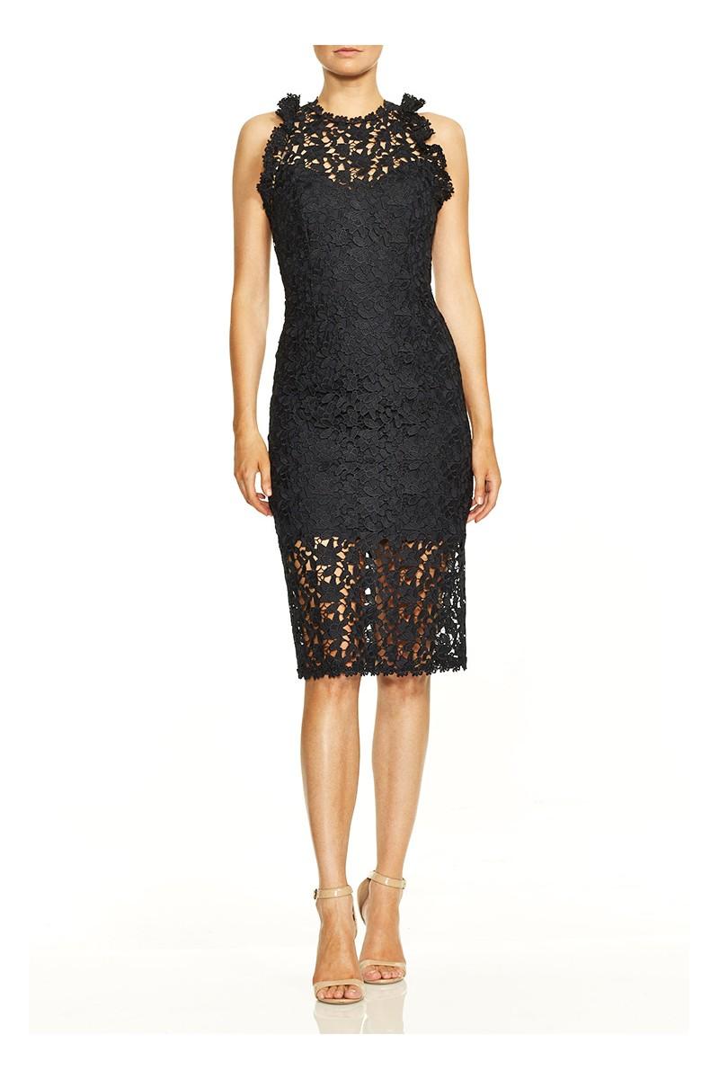 Halston - Sleeveless Mock Neck Fitted Lace Dress - Dark Navy