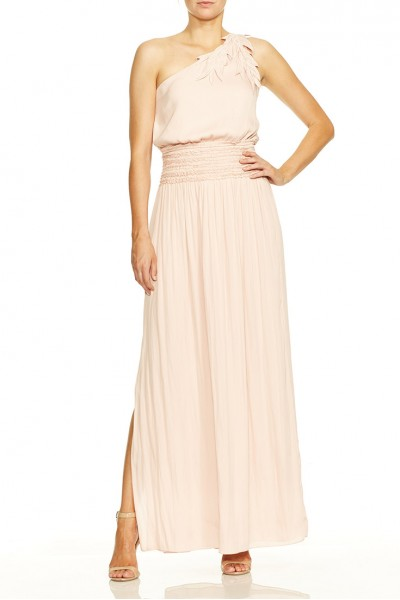 Halston - One Shoulder Floral Applique Smocked Waist Gown - Bloom