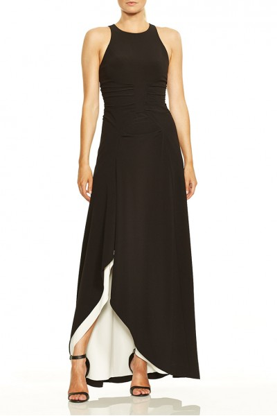 Halston - Sleeveless High Neck Open Drape Gown With Ruching - Black Chalk