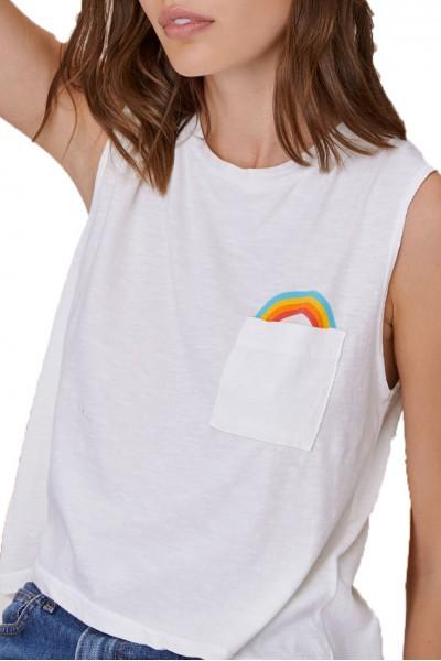 LNA - Women's Rainbow Pocket Tee - White
