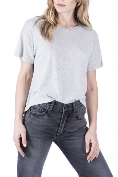 LNA - Women's Curved Brushed Tee - Heather Grey