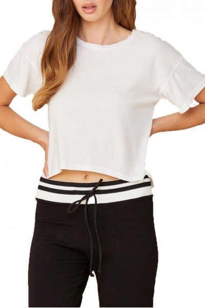 LNA - Women's Curved Brushed Tee - White