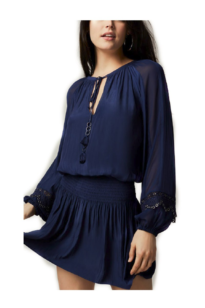 Ramy - Jake Embellished Japanese Tech Dress - Spring Navy