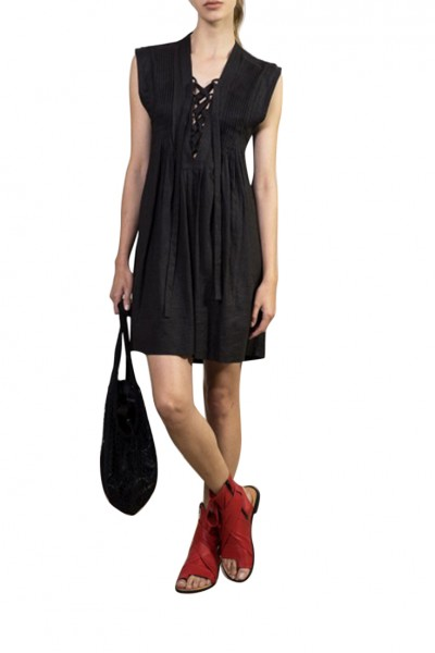 Sack's - Women's Alic Sleeveless Pintuck Pleated Dress - Black