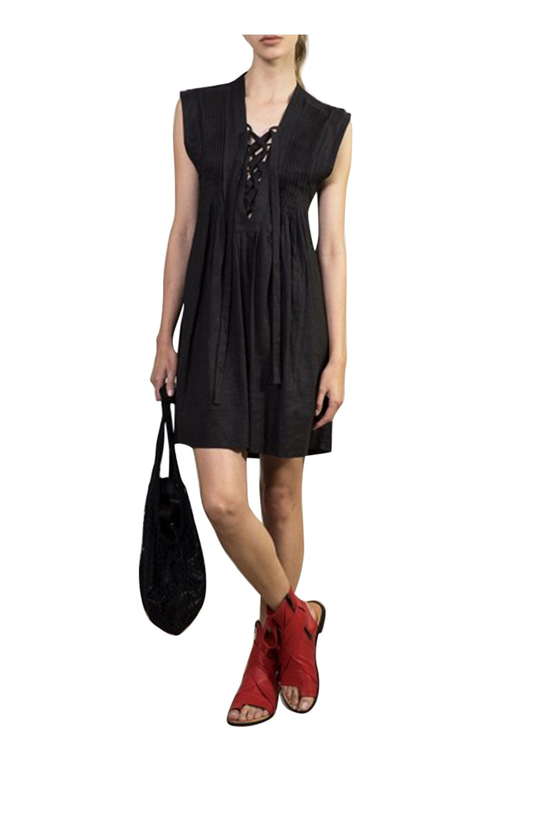 Sack's - Women's Alic Sleeveless Pintuck Pleated Dress - Black