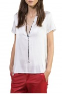 Sack's - Women's Kyla Crochet polo shirt - White