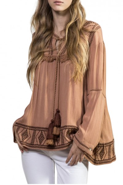 Sack's - Women's Riva Embroidered Blouse - Tabacco