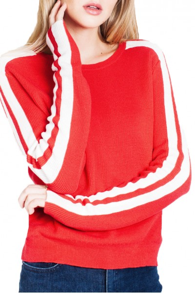 Generation Love - Women's Nicola Stripe Sweater - Red