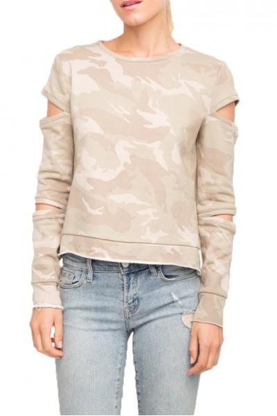 Generation Love - Women's Rosalie Camo Sweater - Sage Camo