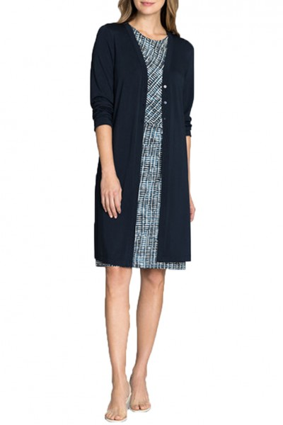 Nic+Zoe - Ease Long Cardy - Indigo Sea