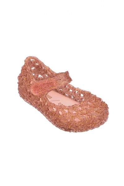 Mini Melissa - Kids Campana Croche Shoe - Pink Glitter Gold