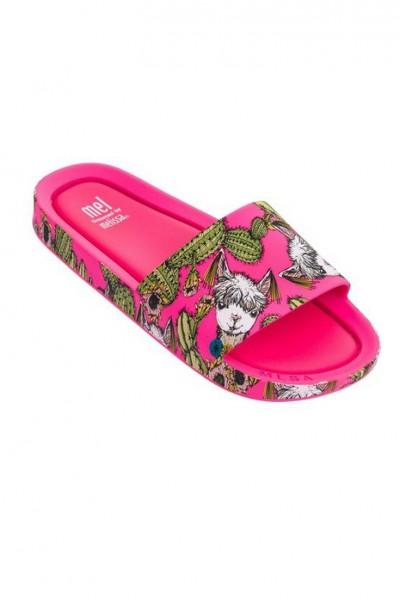 Mini Melissa - Kids Beach Slide 3db II Children Slipper - Pink Neon Green