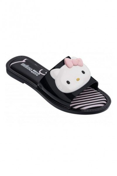Melissa - Women's Slipper + Hello Kitty Ad - Black White