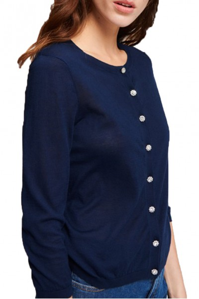 Tara Jarmon - Light Cotton Cardigan - 891-Bleu Nuit