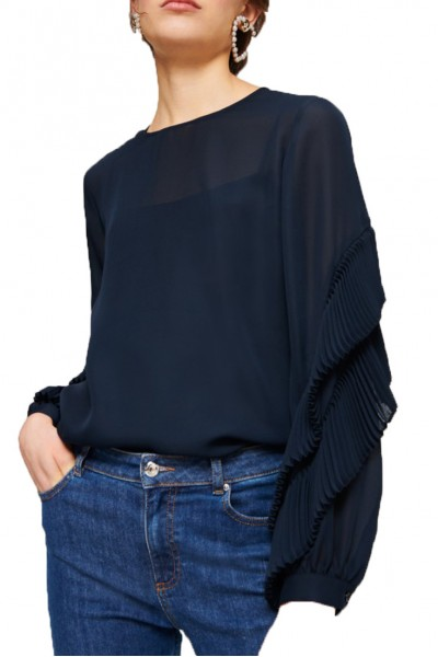 Tara Jarmon - SP19A - Pleated Georgette Top - 891-Bleu Nuit
