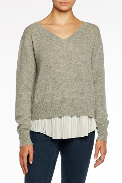Brochu Walker - Layered Pullover - Arctic GreyWhite