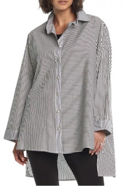 Planet - Mixed Stripes Sweater - Black White