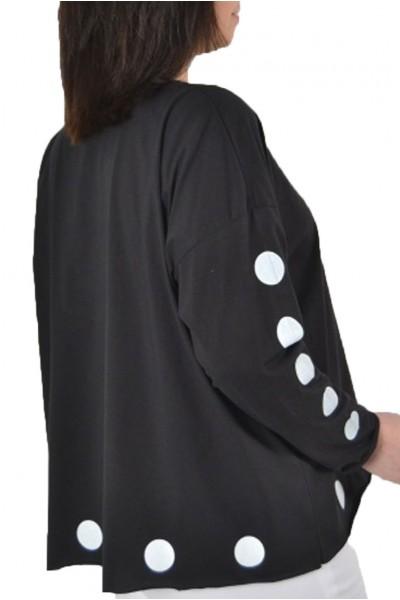 Planet - Polka Dot T Top - Black White