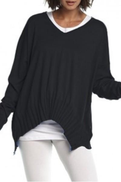 Planet - V Ribbed Sweater - Black