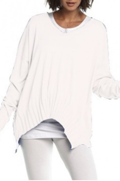 Planet - V Ribbed Sweater - White