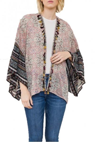 Mystree - Border Print Tassel Trim Chiffon Kimono  (48074T) - Coral Black