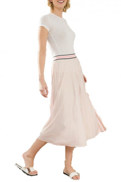 Mystree - Color Block Elastic Waist Pleated Skirt - L.Rose