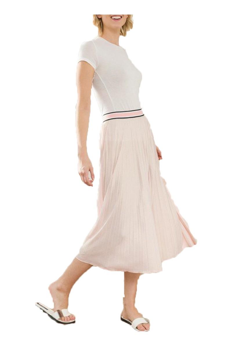Mystree - Color Block Elastic Waist Pleated Skirt - L.Rose