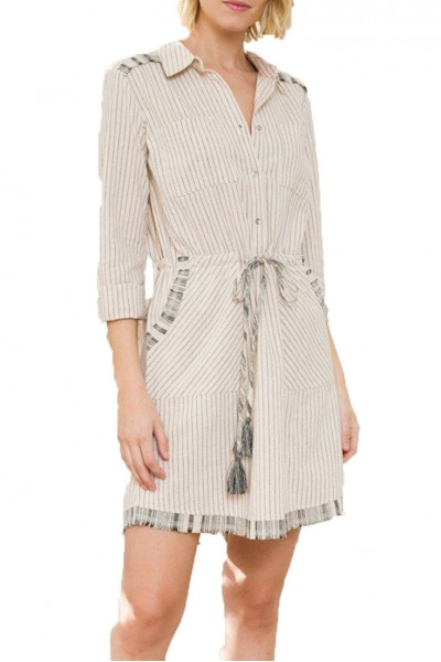 Mystree - Cont Fringe Detail Drawstring Waist Shirt Dress - Nat