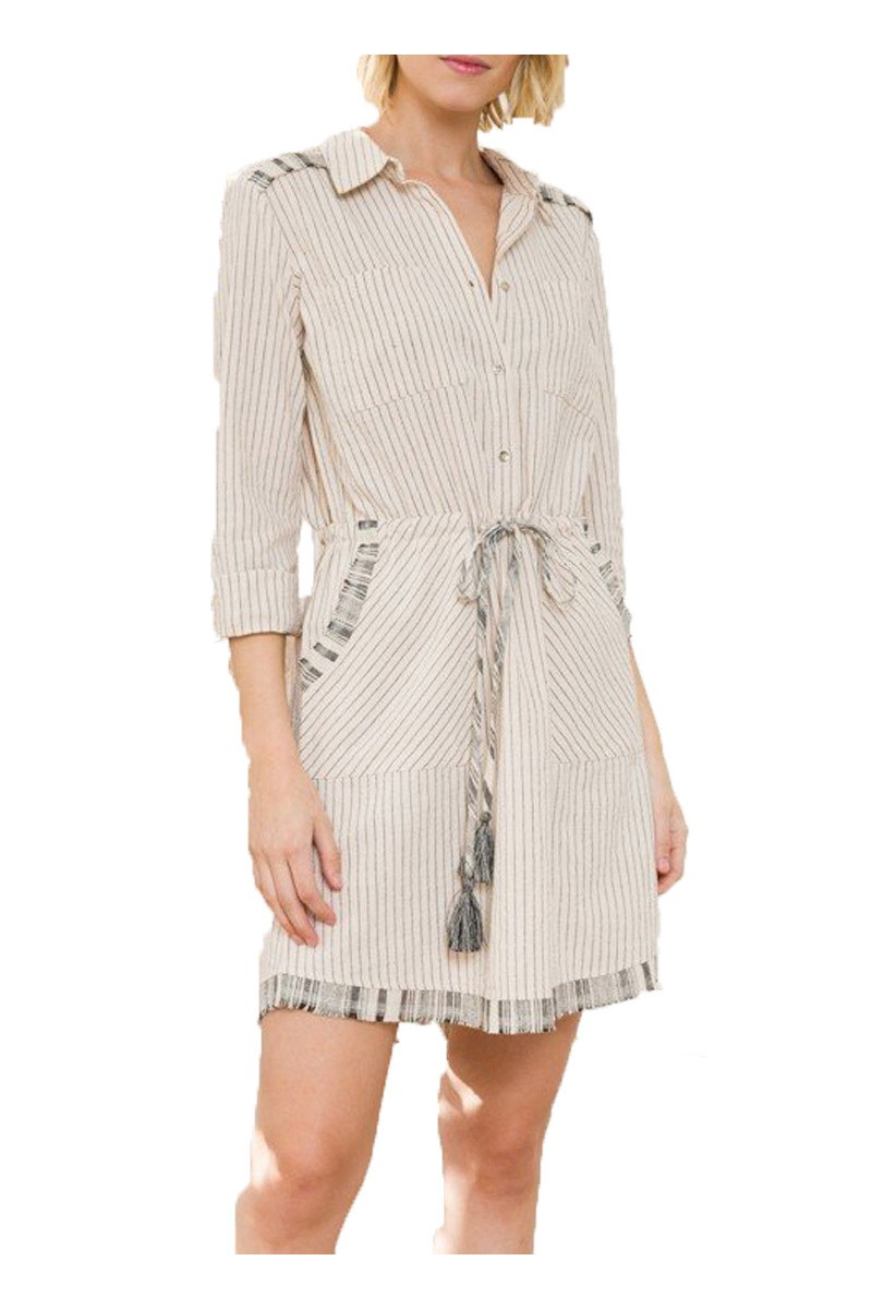 Mystree - Cont Fringe Detail Drawstring Waist Shirt Dress - Nat