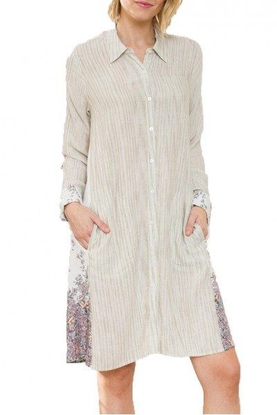 Mystree - Cont Print Side Button Down Shirt Dress - Ivory Mix