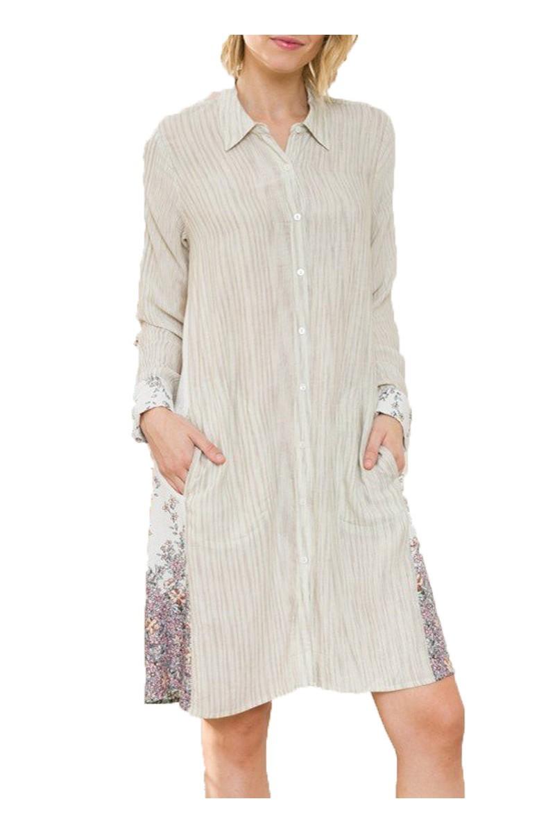 Mystree - Cont Print Side Button Down Shirt Dress - Ivory Mix