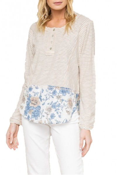 Mystree - Floral Print Bottom Henley Top - Taupe Off White
