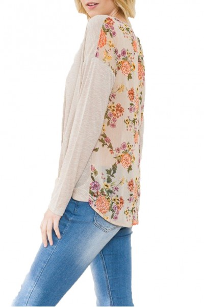Mystree - Knot Front Ribbed Top With Floral Chiffon Print Back - L. Tape