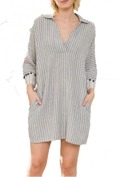 Mystree - Pompom Trimmed Mixed Stripe Shirt Dress - Off White Navy
